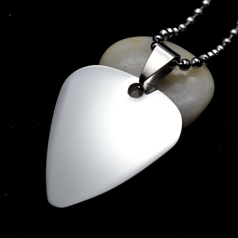 """Silver Tone Stainless Steel Guitar Pick Blank Dog Tag Charm Key Chain Pendant W/ SS Chain 24""""/60CM(China (Mainland))"""