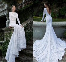 White 2015 Cheap Hot sale Vintage Wedding Dresses with Long Full sleeve Sweep train High neck Sheer Sexy Mermaid Bridal gowns(China (Mainland))