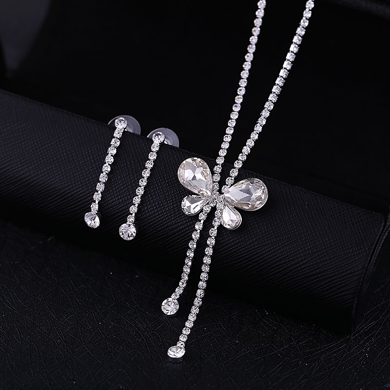 BRIDAL WEDDING PARTY JEWELRY BUTTERFLY CRYSTAL DIAMANTE NECKLACE EARRINGS SET(China (Mainland))