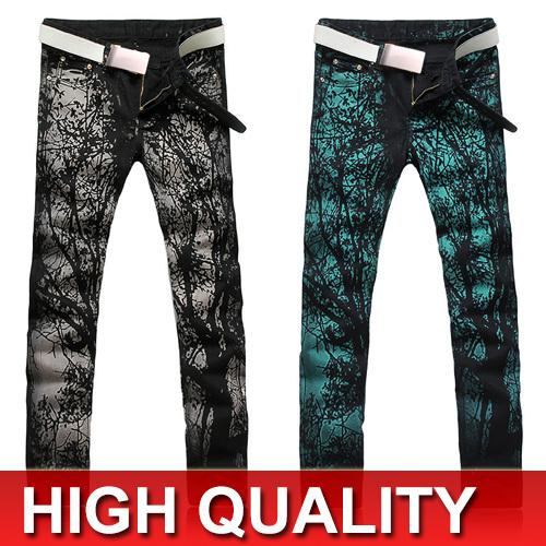 Fashion Brand Denim Jeans Men Printed Painted Jeans Slim Fit Stretch Jeans 8 Sizes MJB029(China (Mainland))
