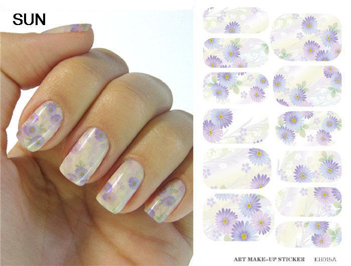 Fashion Sun Nail Sticker Water Transfer Foil Nails Art Sticker Chrysanthemum Design Light Purple Manicure Decor Decals(China (Mainland))