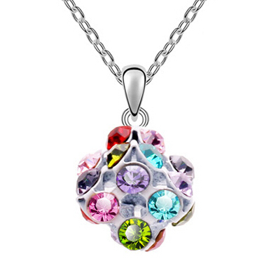 New Crystal Love Rubik Cube Necklace Square Necklace Austrian Crystal Necklaces For Women Fashion Crystal Jewelry(China (Mainland))