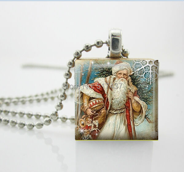 CR29-Christmas Necklace Christmas Jewelry Glass Tile Necklace Vintage Santa Jewelry Santa Glass Tile Jewelry(China (Mainland))