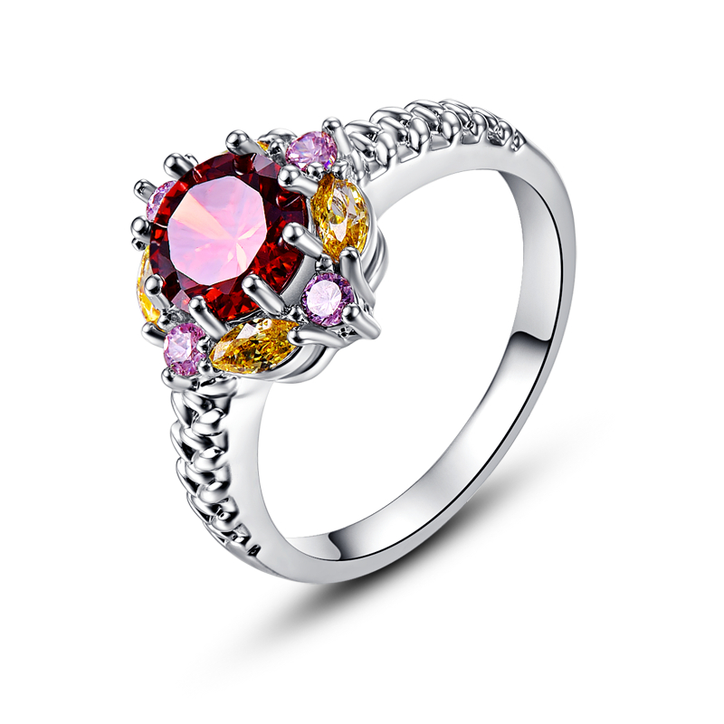 CQueen Bohemia Flower Jewelry Wedding Rings Red Garnet Citrine Pink Topaz 18K White Gold Plated Fashion Ring for Women Wholesale(China (Mainland))