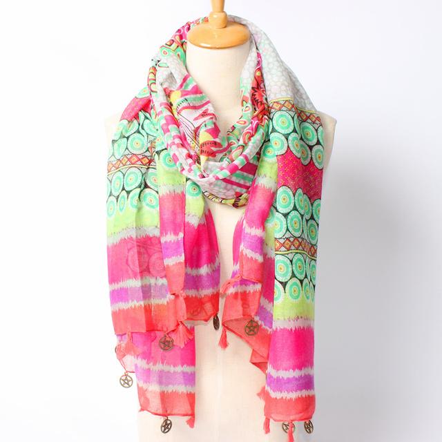 2016 новое поступление зима мода женщин марка дизайн богемия национальный ветер смесь цвет геометрия точка длинный 180 см шарф красивый платок