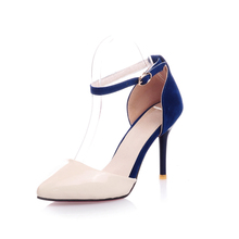 New Arrivals Two-Piece Lady Party Shoes Big Size 34-43 Thin High Heels Women Dating Pumps Elegant Pointed Toe Buckle Pumps(China (Mainland))