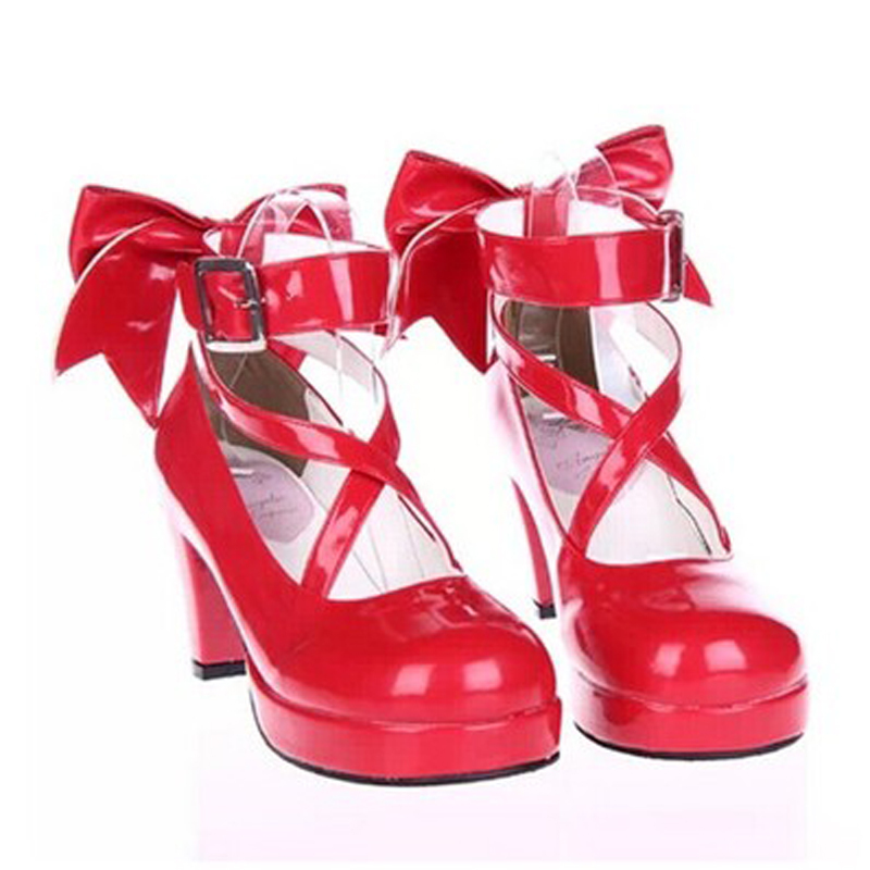 Handmade Cute Bow  Princess Vintage Sweet Lolita Shoes 7cm High Heel Medium Heel Shoes Thick Heel