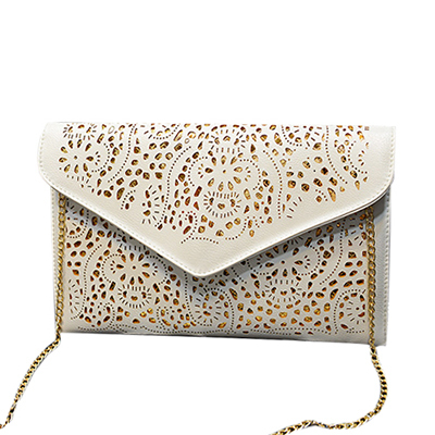 Hot New 2015 Hollow chains envelope bag neon color cutout bag pu candy color day clutch women's messenger bags Z4 Free Shipping(China (Mainland))