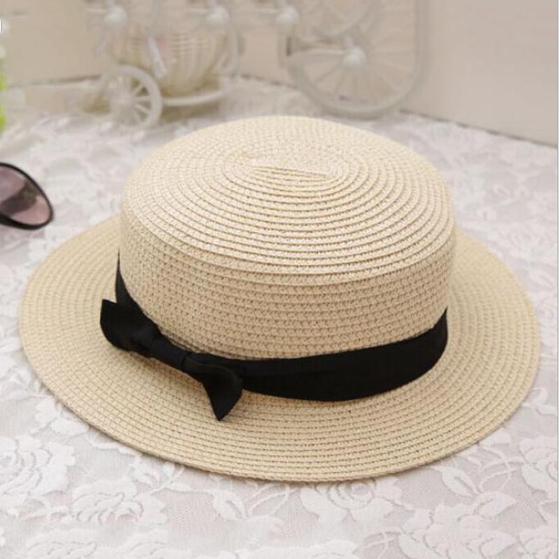 2016 New Fashion Flat Sun Hat Women's Small Bow Folding Straw Hats Lady Beach Headwear sommer damenhut chapeau femme(China (Mainland))