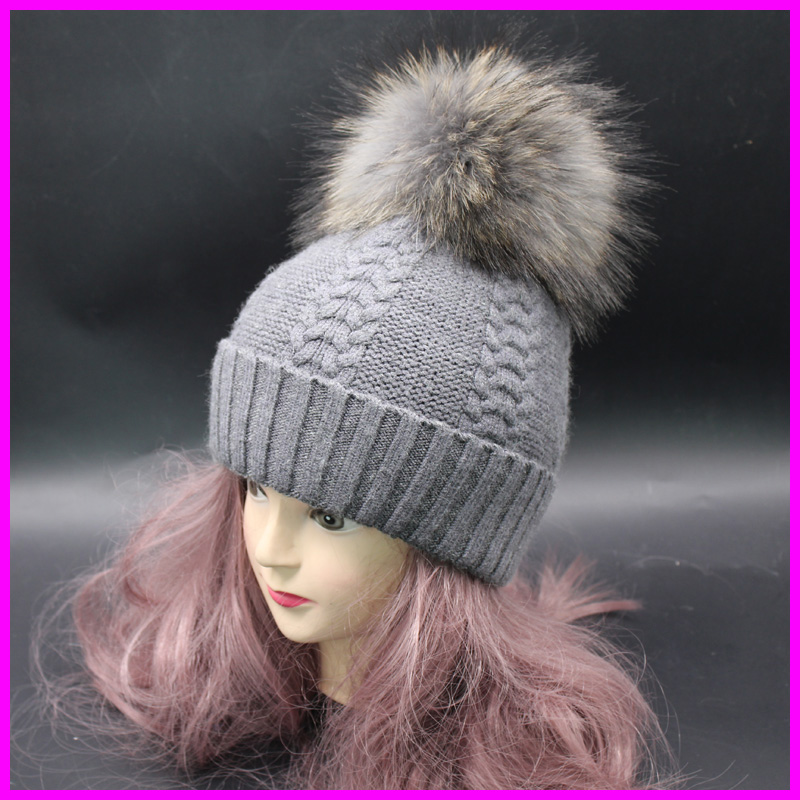 Winter Raccoon Fur Pompom Bobble Hats For Women Wool Cashmere Blend Knitted Twist Skullies Beanies(China (Mainland))