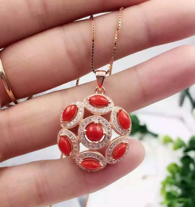 Fashion Leisure ball natural red coral pendant 925 sterling silver natural gem stone pendant  necklace for women party jewelry