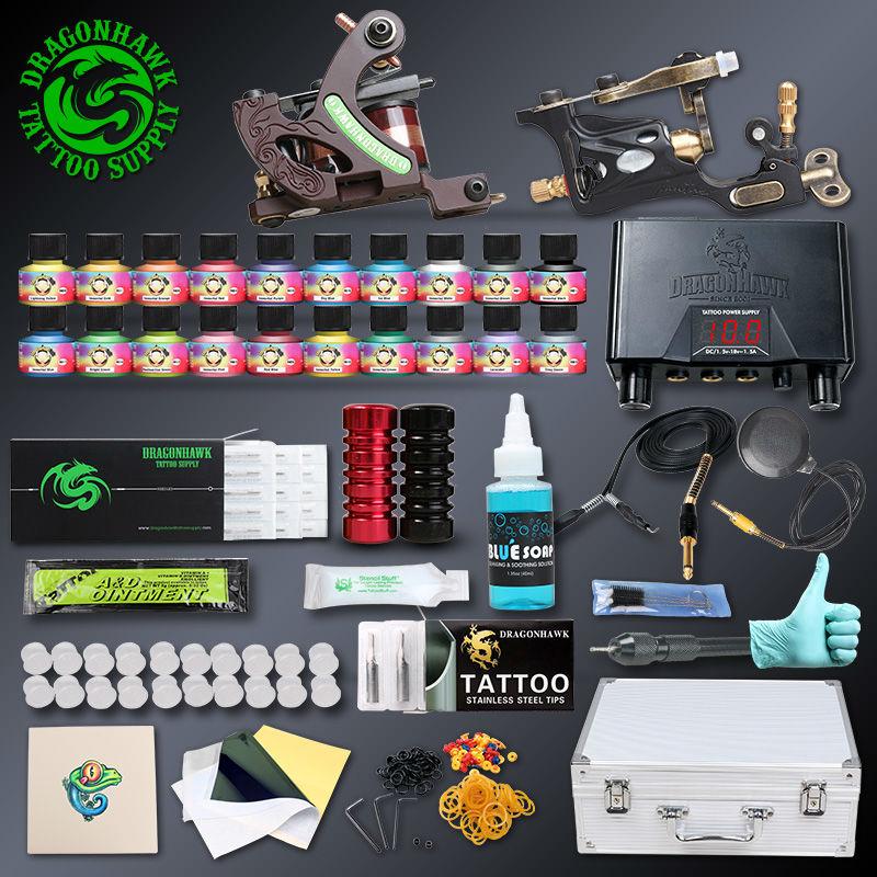 Professional Tattoo kit 2 pcs Rotary Tattoo Machines 20 Immortal Inks Tattoo Power Supply Tattoo Accessories(China (Mainland))