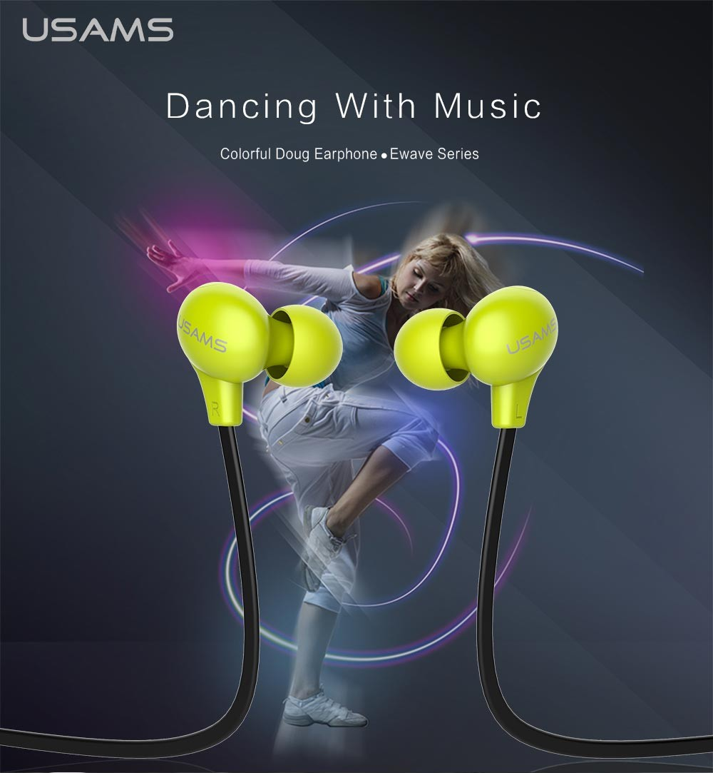 Earphone From USAMS 3.5mm In-ear clear voice Headphone Mobile Computer headsets Super Bass stereo earbuds for mobile phone MP3(China (Mainland))