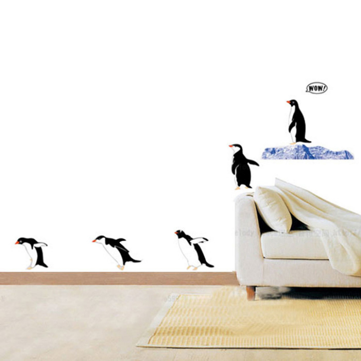 Delicate Natural Style Photo Frame PVC Bedside Wallpaper DIY Stickers Lovely Catoon Penguin Bedroom Wall Stickers for Child(China (Mainland))