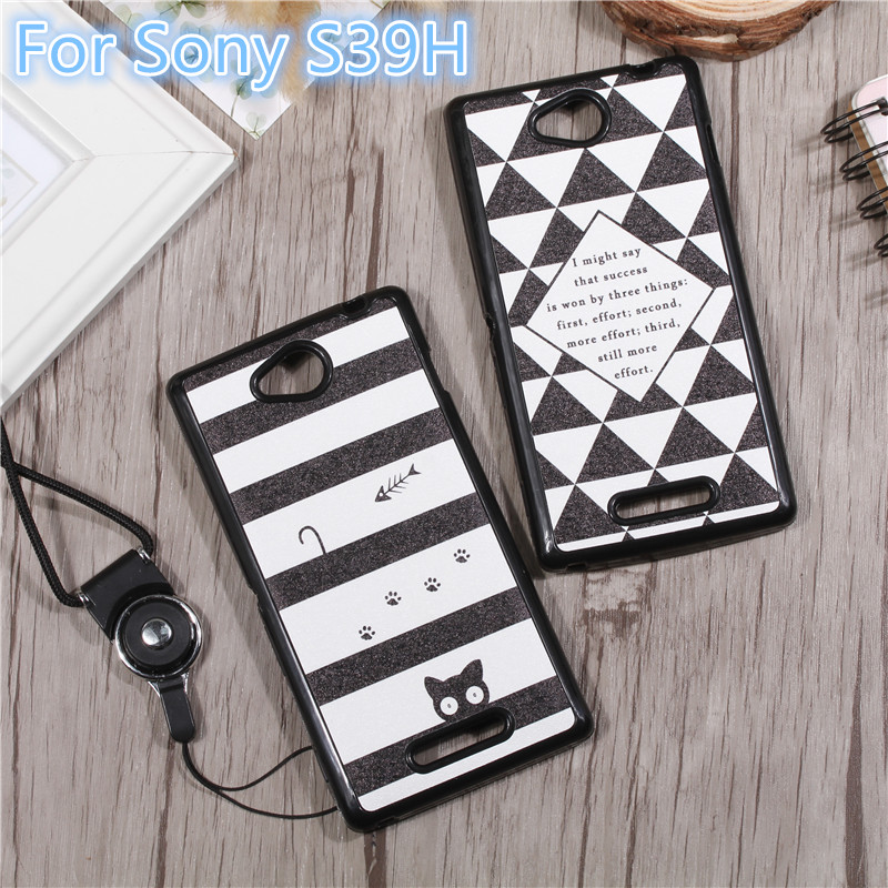 Cover Sony Xperia C S39H C2305 C 2305 2305 cases Paste back Covers Case Sony Xperia C S39H cases Lanyard