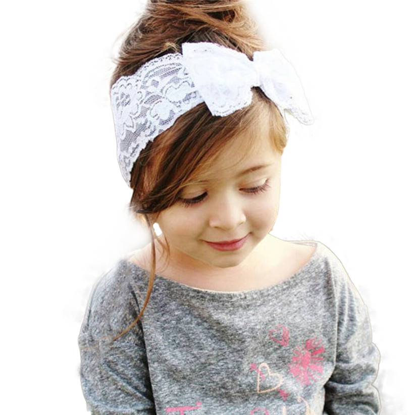 Newly Design New Fashion Girls Lace Big Bow Hair Band Baby Children Head Wrap Headwear Band Accessories(China (Mainland))