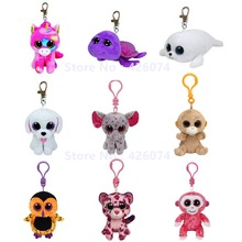 Big Eyed Unicorn Elephant Teddy Turtle Owl Orangutan Monkey Stuffed Animals Clip Key Chain Kids Plush Toys 8CM(China (Mainland))