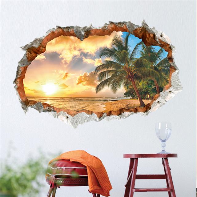 Романтические каникулы закат кокосовых пальм морской пейзаж стикер стены бытовой украшение обои домашнего декора плакат