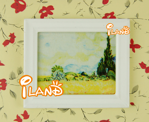 iland 1:12 Dollhouse Wall Hanging White Framed Countryside Landscape Picture OM013