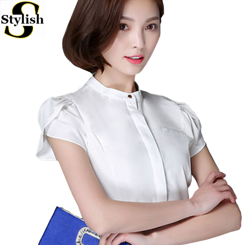 Women Blouse Chiffon Puff Short Sleeve Summer 2016 Korean Style White Shirt Elegant Ladies Office Tops Female Clothing Plus Size(China (Mainland))