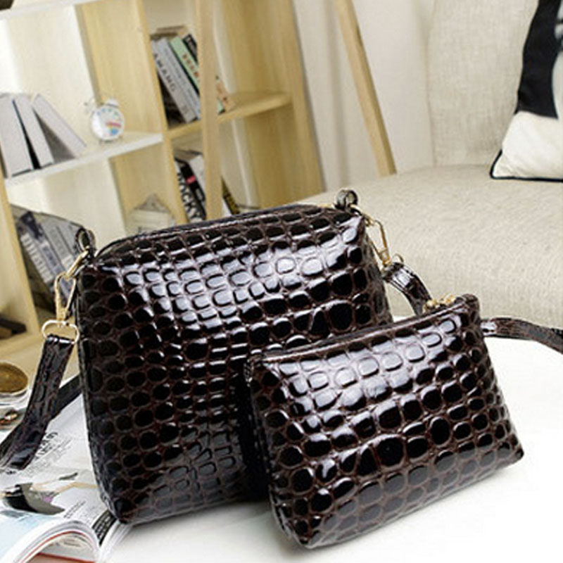 2PCS Women Bags 2016 New Fashion Bag Handbags Fashion Handbags Messenger Shoulder Bag Crocodile PU Leather bags Free Shipping(China (Mainland))