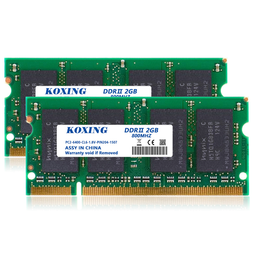 KOXING New RAM 4GB Kit (2GBx2) DDR2 800MHz (PC2-6400)CL6 SODIMM 200-Pin Notebook Memory Module For intel / AMD-compatible(China (Mainland))