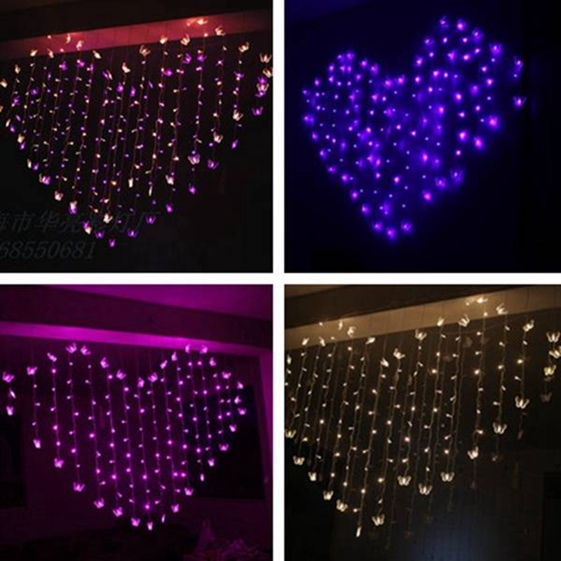 2015 New 2M Heart Shape LED Butterfly Lights String Curtain Light Christmas Wedding Holiday Decor(China (Mainland))