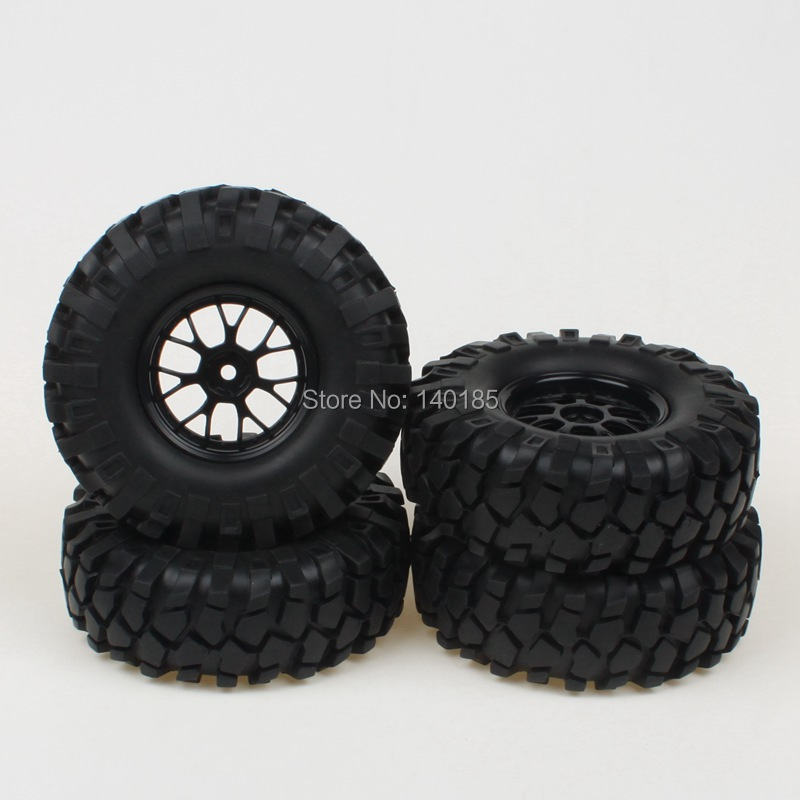 4pcs 12mm Hub Off-Road Y Type Wheel Rim & Tires Black for RC 1: 10 Climbing Car(China (Mainland))