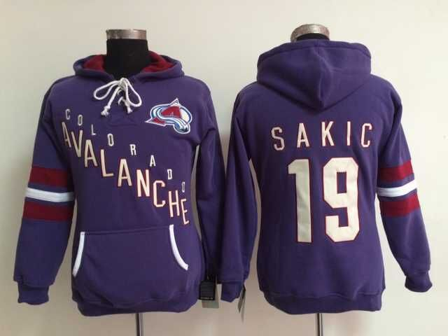 Style Womens Colorado Avalanche Hoodie Jerseys #19 Joe Sakic Purple Ice Hockey Hoodie,100% Embroidery Logos,Accept Mix Order