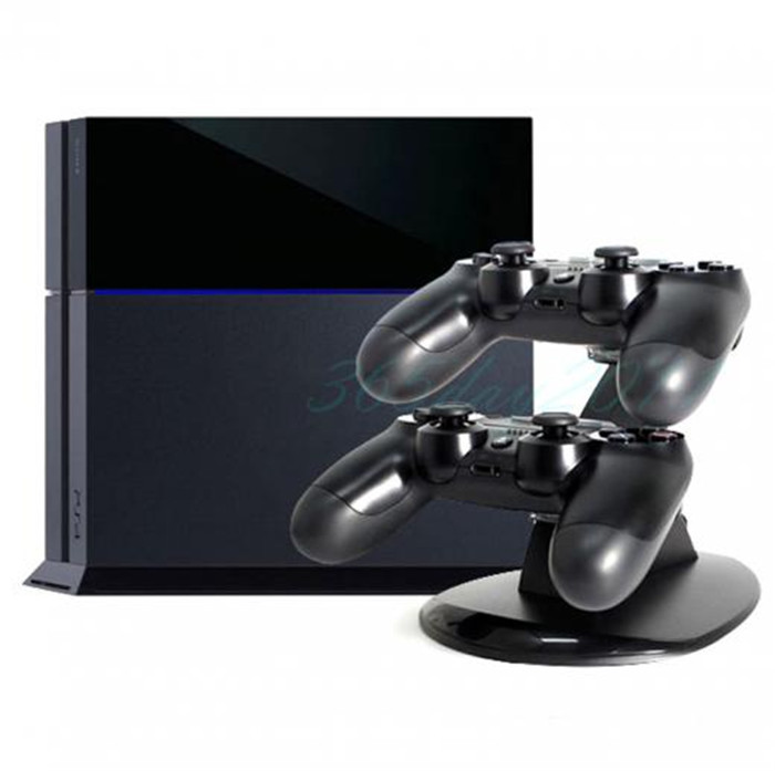 Black Dual Charger USB LED Dock Station Charging Stand Playstation 4 PS4 Controller - Favor_Favorhk store