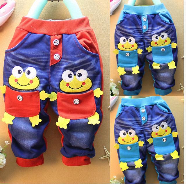 Дети девочки-младенцы мальчики малышей демин синий лягушки вкладыш брюки брюки 1-5Y