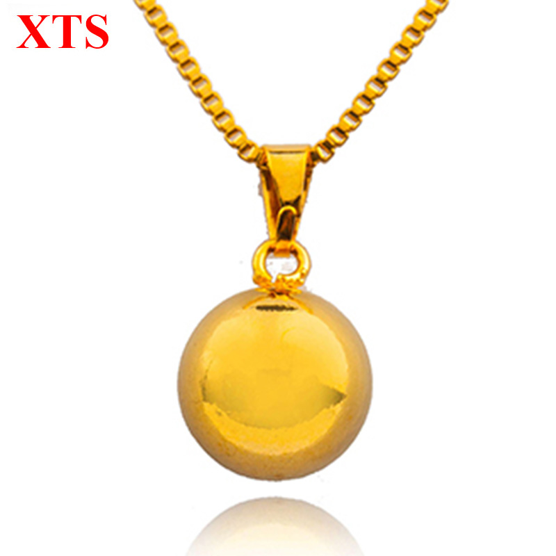 18K Gold Solid Round Necklace Ball Pendant Snake Gold Chain for Women Accessories Pure Gold Jewelry Gift Bijoux Femme(China (Mainland))
