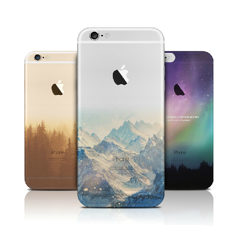 Fashion Thin Soft Silicone Mountain Back Cover Case For Apple iPhone SE 5s / 6 6s / Plus Transparent Back Cover Case For iPhone(China (Mainland))