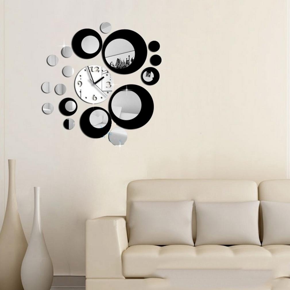 2018 wholesale diy self adhesive modern acrylic clock mirror wall