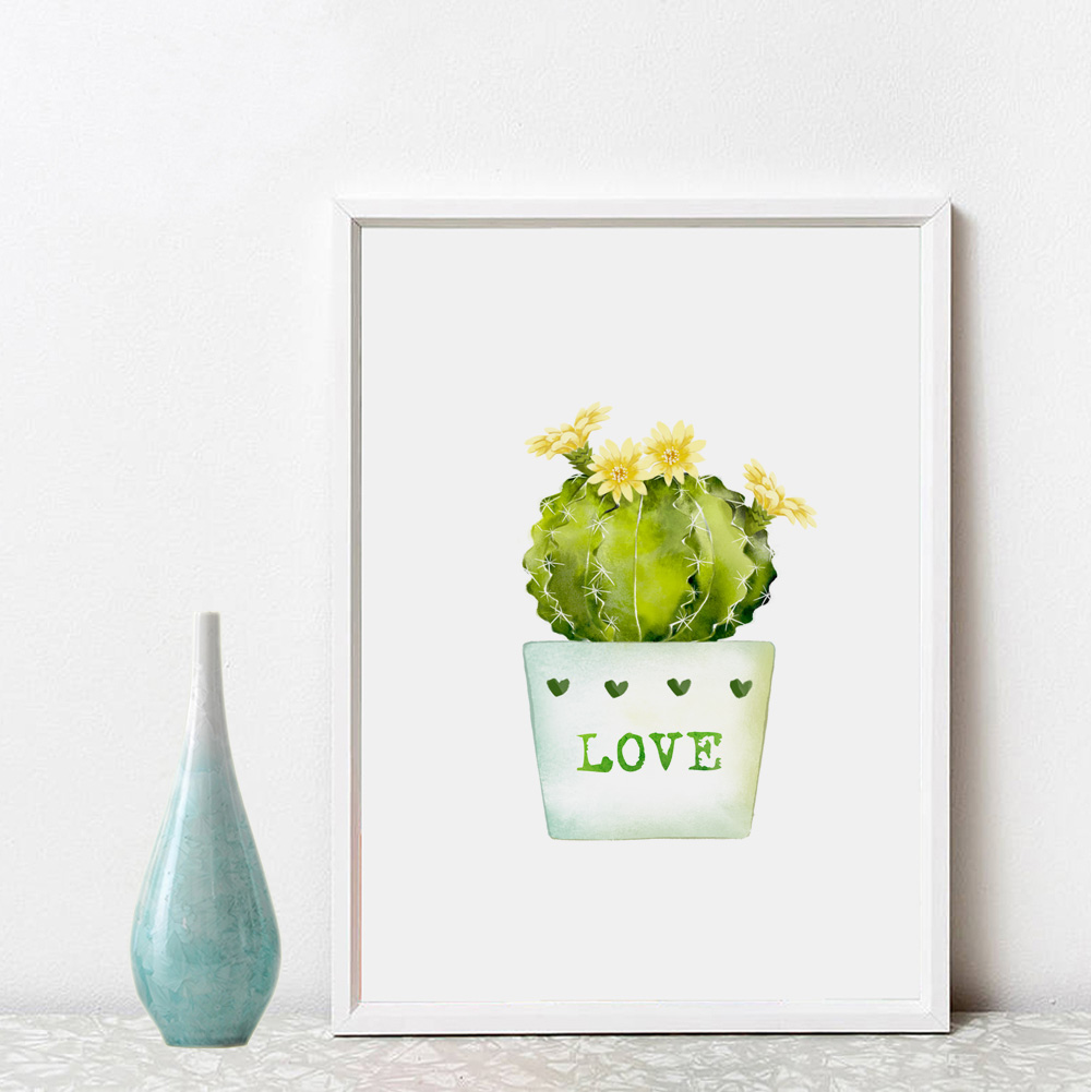 Cacti Inspiration Wall Art Green Home Decor Love Gift Pictures Cactus ...