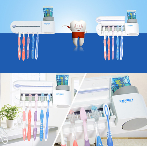 Electric Sterilizer Toothbrush Holder and Automatic Toothpaste Dispenser Cleaner Bathroom Home Set High Quality(China (Mainland))