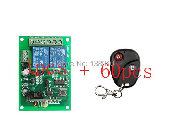 2015 New DC12V 2Channe RF wireless remote control switch System, 60 X Transmitter + 1 X Receiver,315/433 MHZ(China (Mainland))