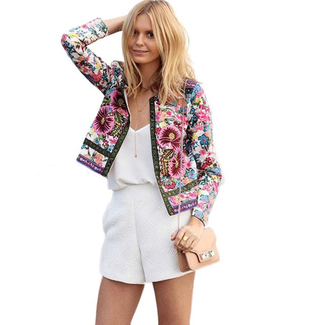 Новый бренд 2015 мода женщины цветочный печатных короткая куртка с длинными рукавами ...