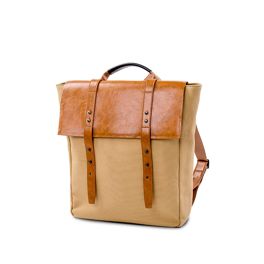 Safelake Vintage Men Casual Canvas Leather Backpack Rucksack Bookbag Satchel Hiking Bag Black Khaki