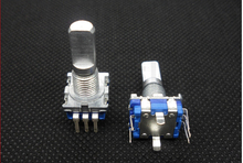 free shipping 1pcs 6mm Knurled Shaft 20 Position 360 Degree Rotary Encoder with Push Button Switch(China (Mainland))
