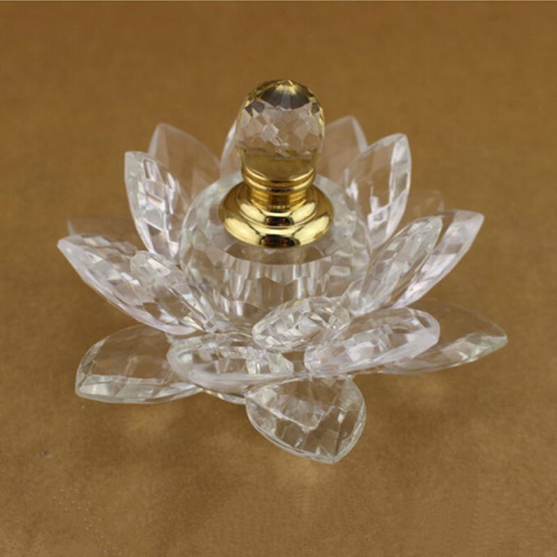 Clear Rare Travel K9 Crystal Lotus Flower Perfume Bottle 3ml Rainbow Essential Oils parfum women perfume Bottles Refillable Gift(China (Mainland))