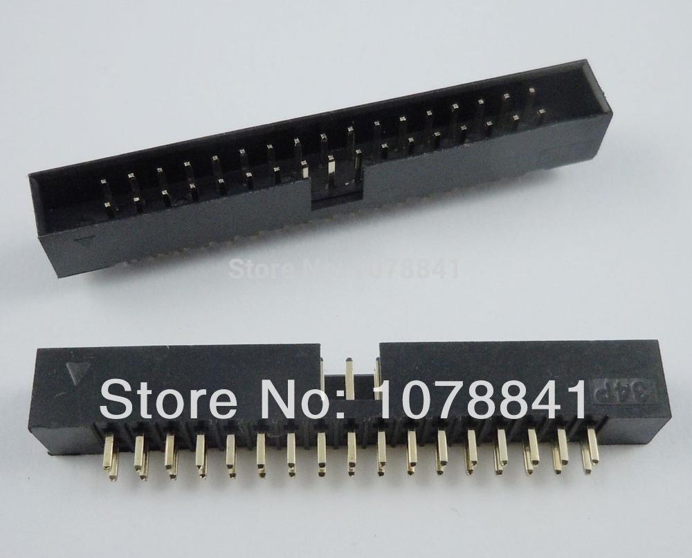 100 Pcs Per Lot 2mm 2x17 Pin 34 Pin Straight Male Shrouded PCB Box header IDC Socket от Aliexpress INT
