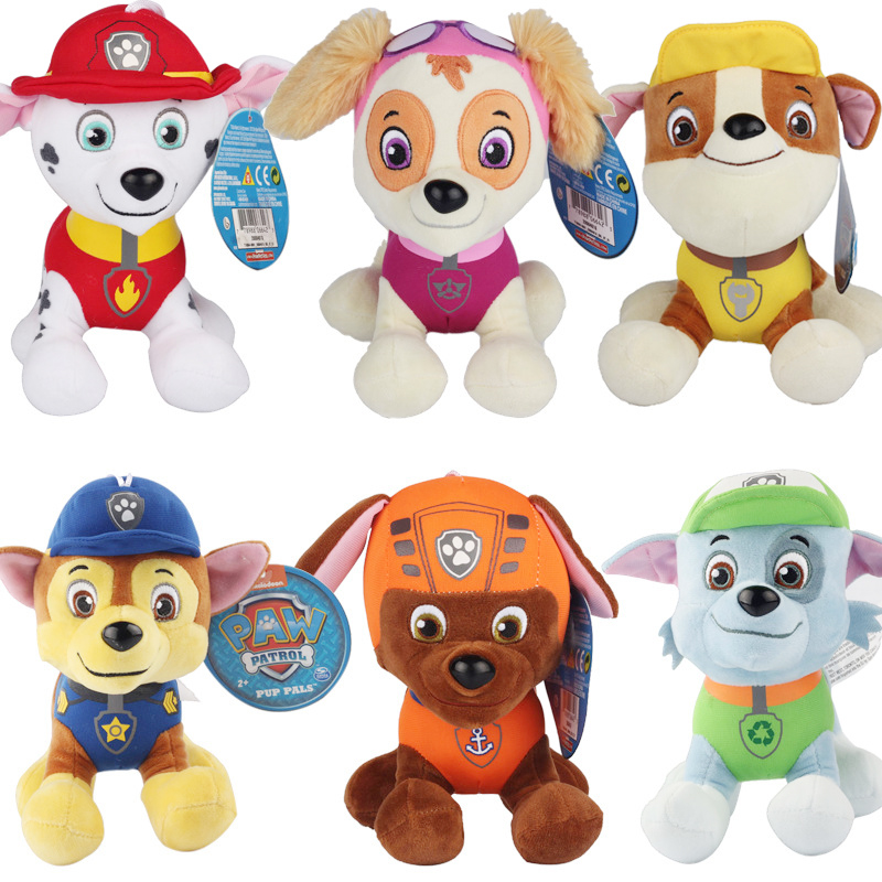 6pcs/lot 20-30cm Patrol Dog Toys Plush Cartoon Doll Puppy Patrol Dogs Anime Action Figure Toys for Children(China (Mainland))