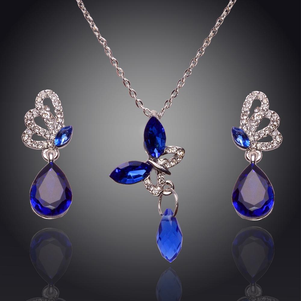 Гаджет  Fashion 2014 Brand New Austrian Crystal Butterfly Earrings Water Drop Pendant For Women Jewelry Sets Wedding Party Gift None Ювелирные изделия и часы
