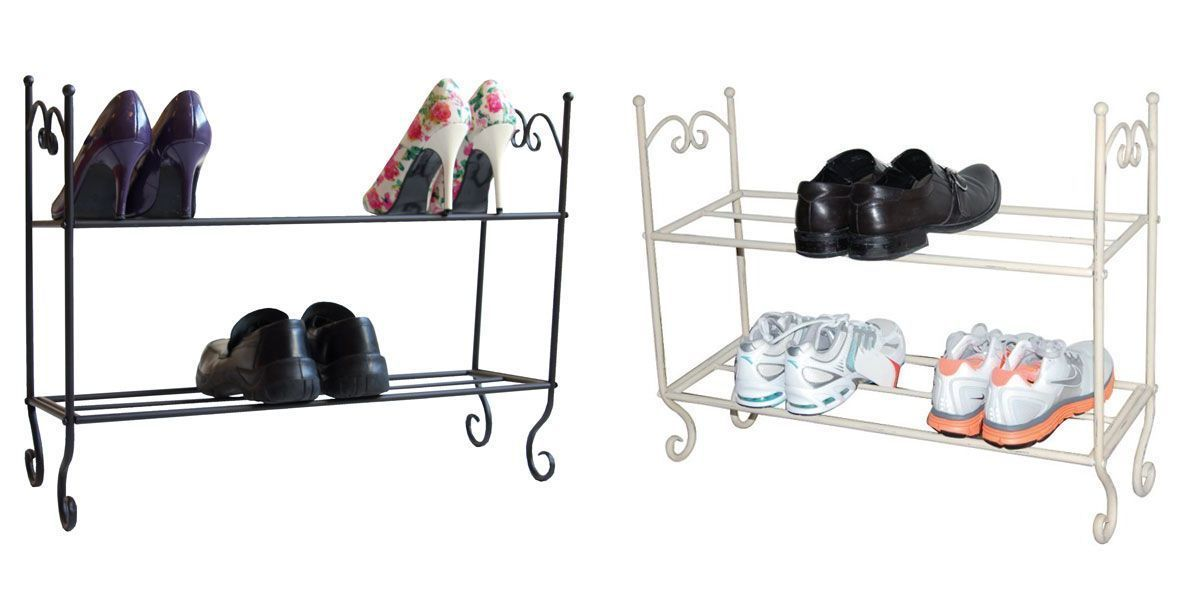 2015 New Hot 2 Tier Metal Shabby Chic Vintage French Style Storage Shoe Shoes Rack(China (Mainland))