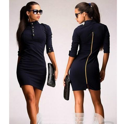 Summer Style new fashion OL work wear women elegant and sexy dress women casual slim dress with zipper(China (Mainland))