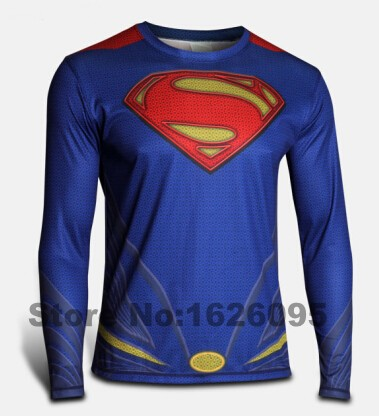 2016 new men steel beast compression shirt superman/batman/gym/run long sleeve t shirt fit tight shirts sports t-shirt(China (Mainland))