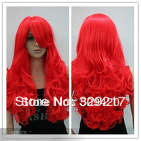 Bright Red Long Curly Cosplay Full Wig(China (Mainland))