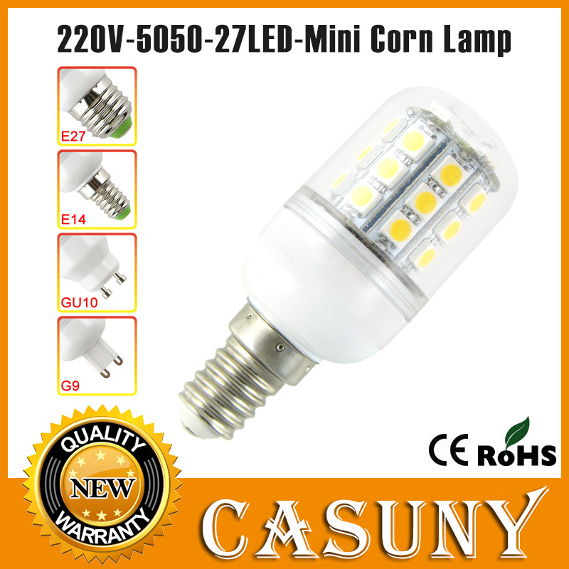 Free shipping e14 led 220v 5w smd 5050 led bulbs e27/g9/gu10 socket corn light pure/warm white For bedroom, living room, kitchen<br><br>Aliexpress