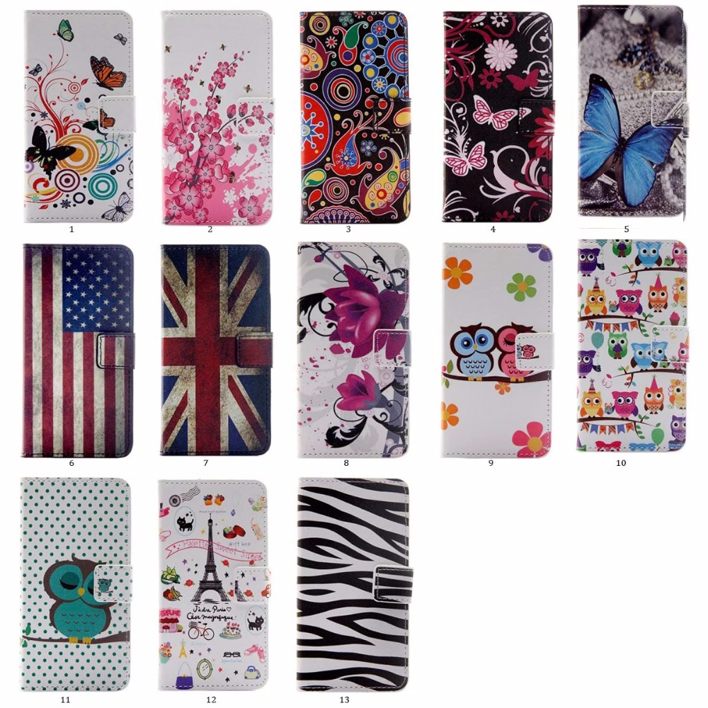 100pcs/lot Vintage UK USA Flag Zebra Plum Blossom Stand Folio Leather Case with 2 Card Slots For Huawei Y5 II(Hong Kong)